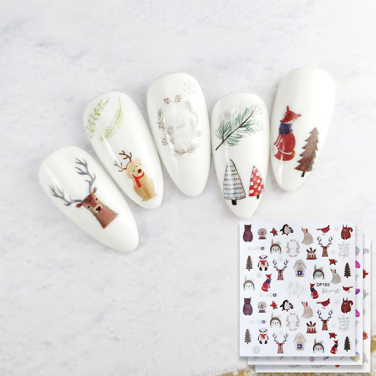 colorful nail art sticker helloween and chrismas and fashion designs 3D nail sticker