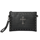 Hot Sale Dropshipping Vintage Design Two Use Hand Bag with Skull Pattern Rivet Bag Low MOQ Leather Men Metal Clutch Bag