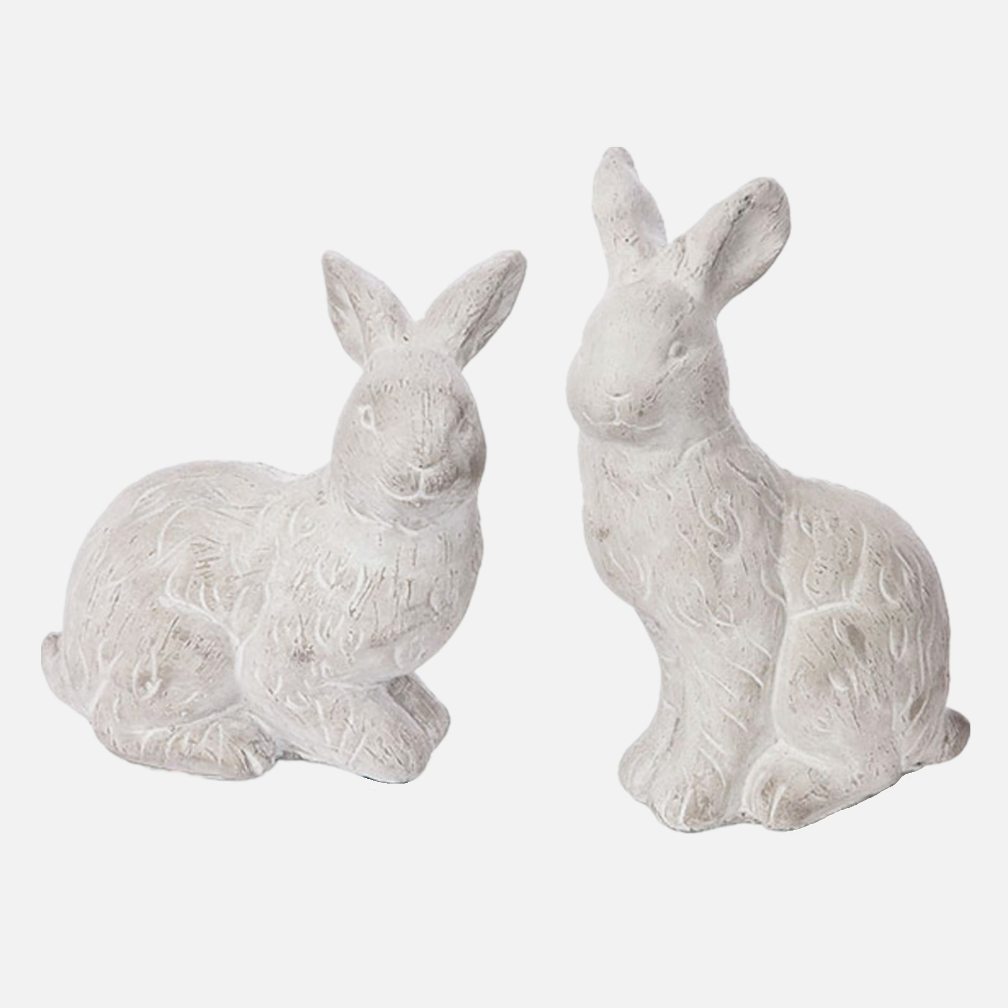 5.5 Inch Tabletop Decoration Resin Floppy Eared Rabbit Statue With Fork Polyresin Bunny Figurine with Bow