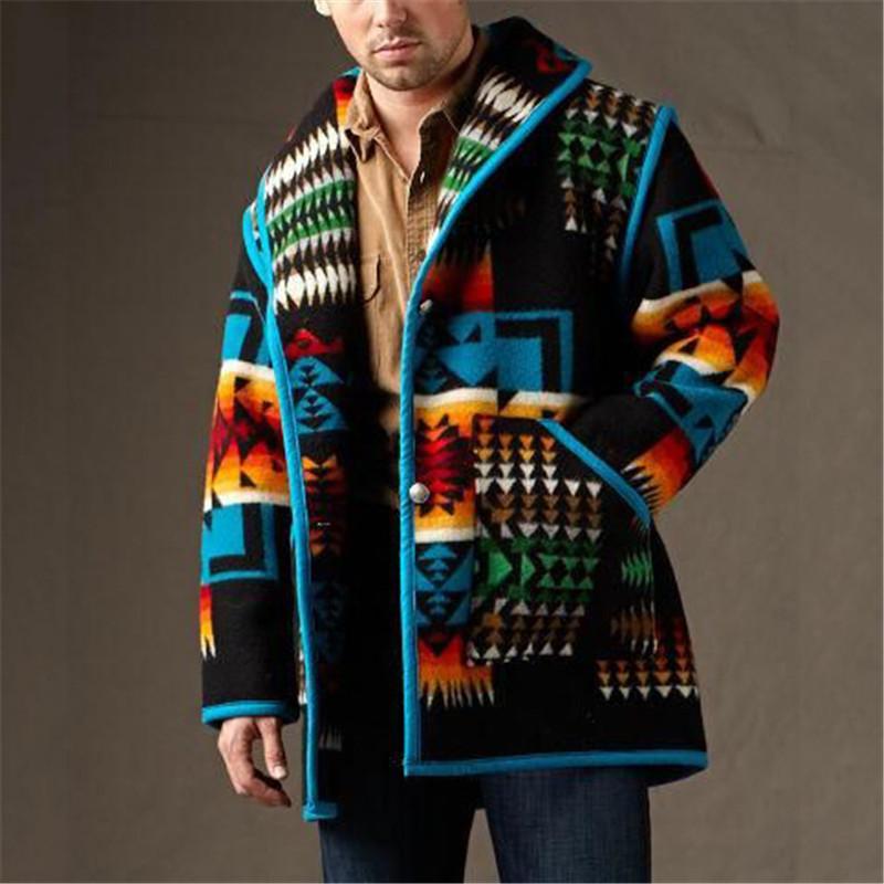 Зимнее пальто для мужчин, новейший дизайн, кардиган в ацтекском стиле, Повседневная теплая верхняя одежда, пальто