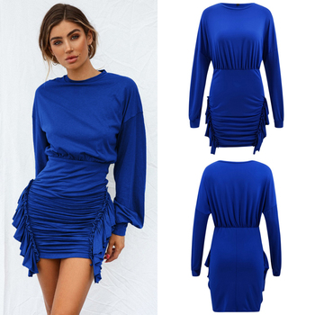 Ladies Dresses New Sale Fashion O Neck Regular Plus Size Casual Dresses Sexy & Club Mini Autumn Garment DYED Full Above Knee
