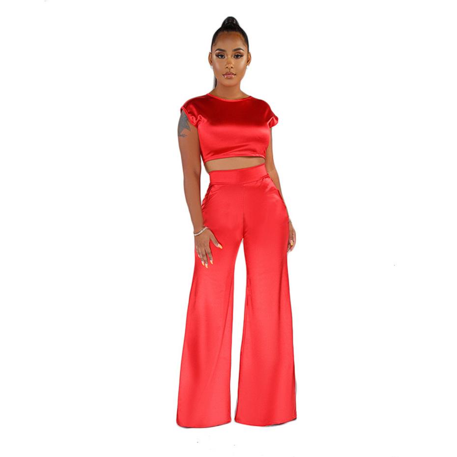 HAOYUAN, сексуальный сатиновый комплект из двух предметов, Женская праздничная одежда, укороченный топ и широкие штаны, осенний костюм, 2 предме...(Китай)