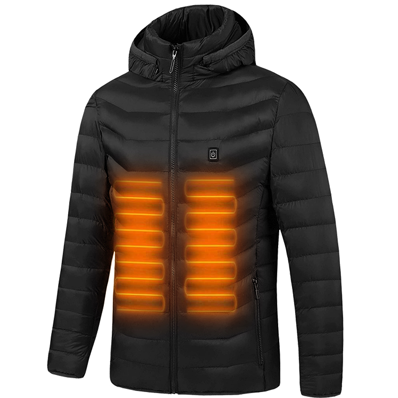 Outdoor Windproof Washable Rechargeable Coats Infrared Heated Down Jacket with Hood for Men and Mowen