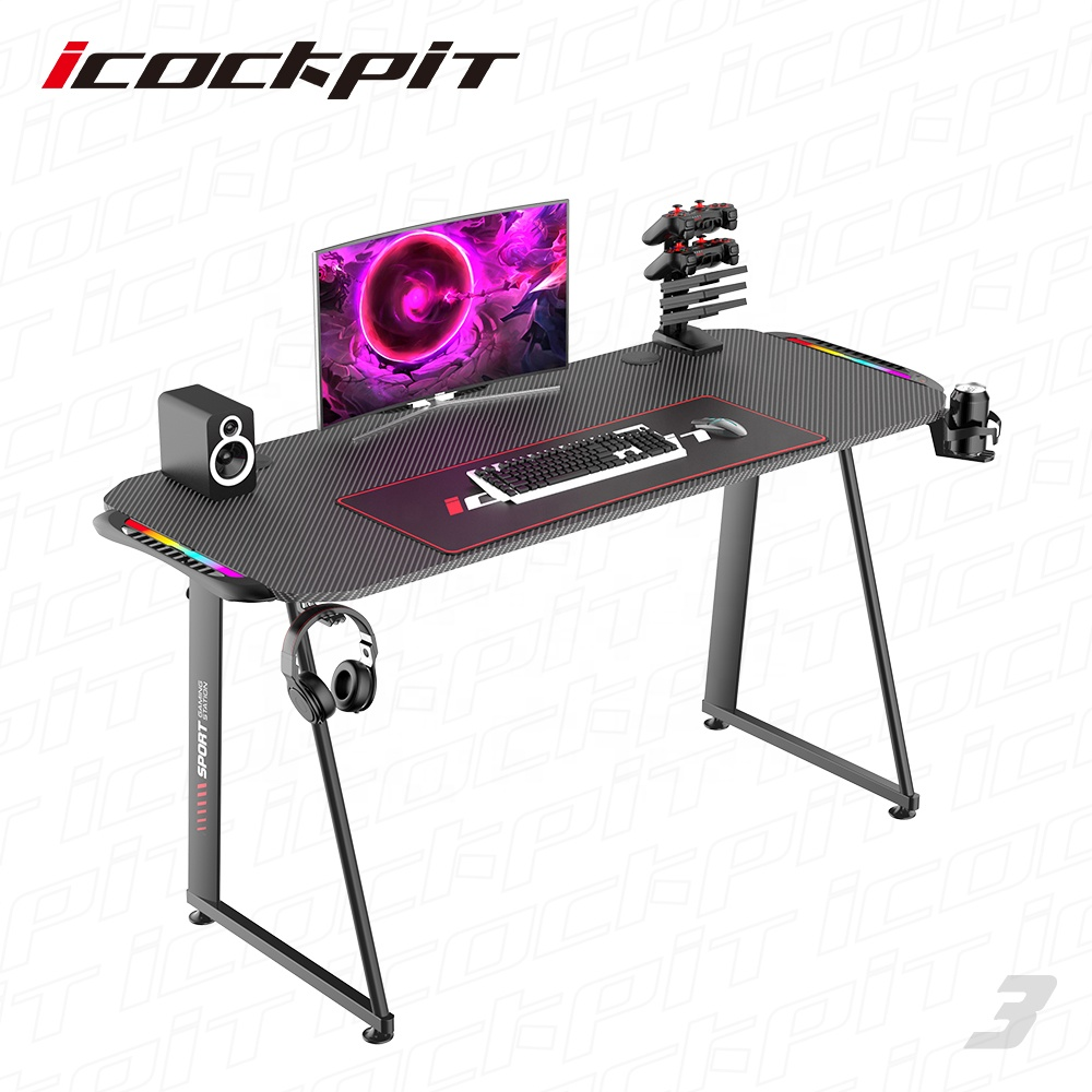 icockpit High Quality Cheap Modern Office Table Gaming Hot Sale Gaming Table with Rgb Gaming Table