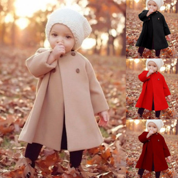 wholesale baby girl autumn winter warm cute trendy jacket long coat for kid