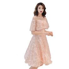 Розовые платья для выпускного It's Yiiya R230 элегантная Аппликация Длина колена Формальные платья 2020 оборки o-образным вырезом А-силуэта Vestidos De ...(Китай)