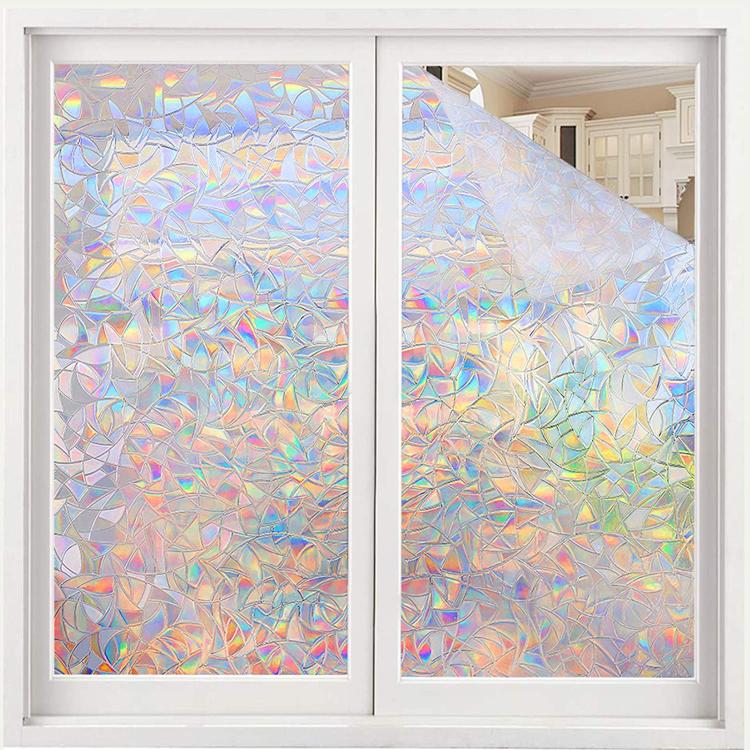 Заводское стекло Akadeco без клея статическая декоративная витражная самоклеящаяся антиуф радужная оконная пленка наклейка