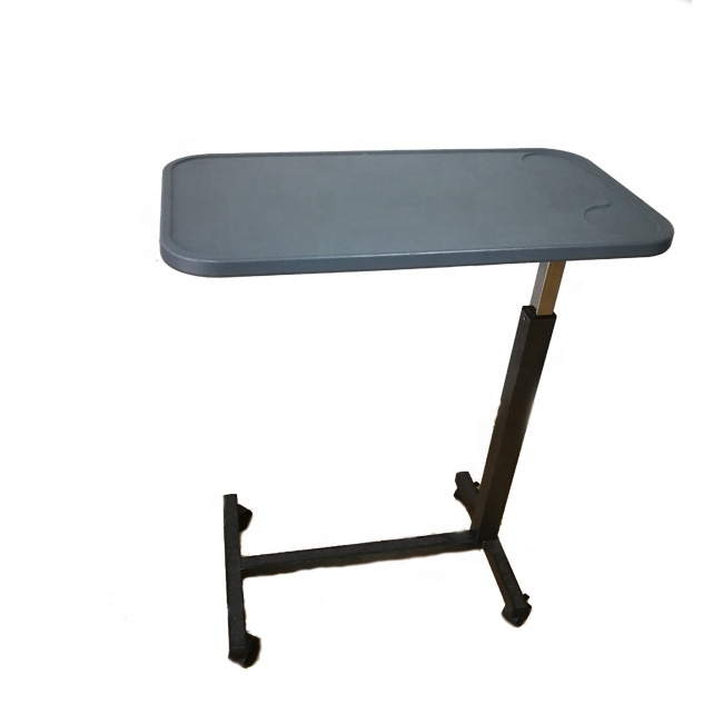 JM0603 Adjustable Gas-Spring Overbed Table with plastic top for hospital and home