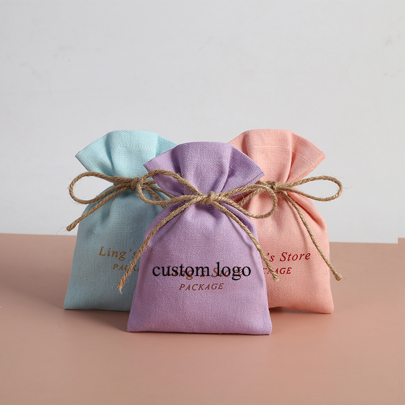 Natural organic cotton candy jewelry custom logo drawstring pouch canvas packaging bags