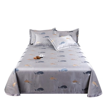 KAERFU bed cover blue silk bed sheet king single bed quilt cover
