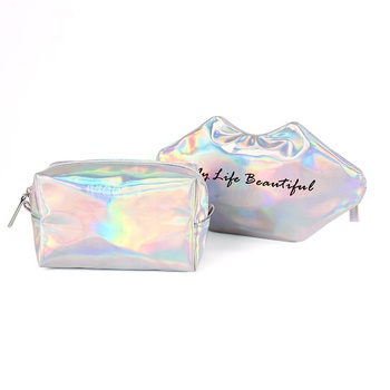 Personalised Eco friendly silver holographic beauty girl cosmetic make up bag set