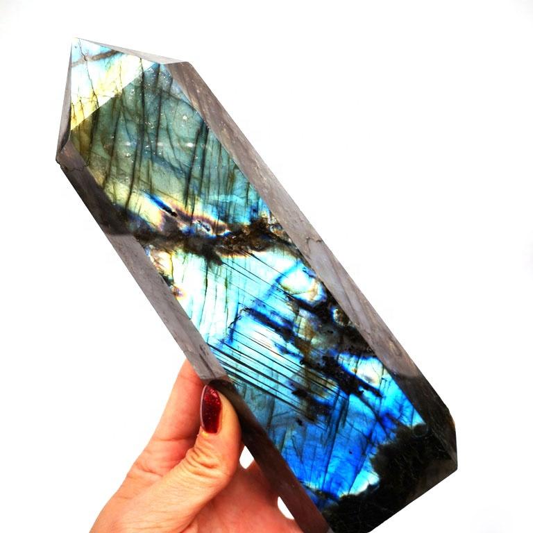 Natural Colorful Quartz Obelisk Miraculous Labradorite Tower Crystal Points
