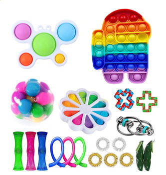Among us Push Silicone Pop Bubble Stress Relief Toys Autism Special Needs Pop It Fidget Toy Sensory Toy