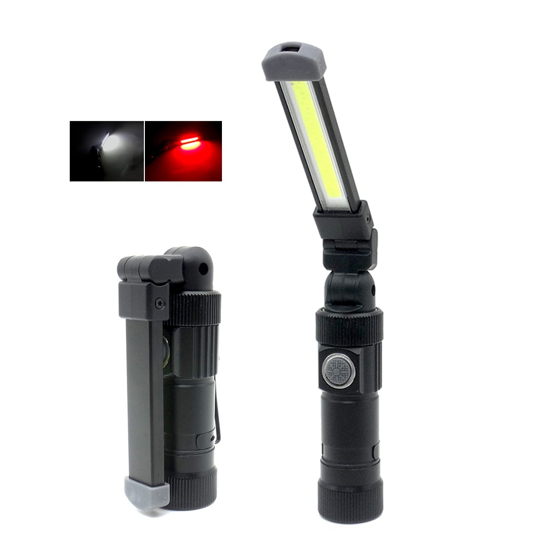 Multi-functional Magnetic COB LED Work Lamp USB Charging Hook Inspection Torch