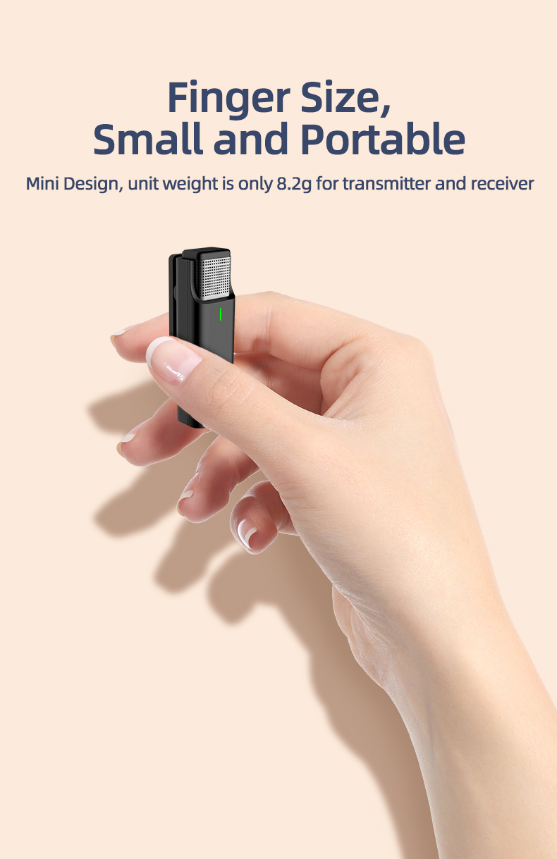 Easy Use Wireless Microphone With Charging Case Micro Mic Recording Lapel Lavalier Microphone with 3.5mm/ type-c/ lightning port