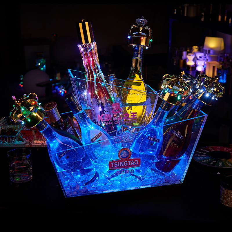 Luminous Transparent Acrylic Ice Bucket Rechargeable LED Champagne Wine Beer Bucket
