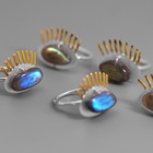 Sterling Silver Labradorite Handmade 925 Sterling Silver Labradorite Eye Open Ring Jewelry