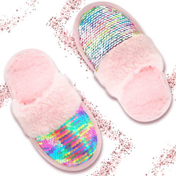 New Desinge House Children's Slippers with Anti-Slip Sole for Boys and Girls Indoor Kids' Sequin Slippers