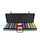 YH 500pcs Hot Sale Professional Texas Holdem Game Used Colorful EPT Ceramic Poker Chip Set With Case