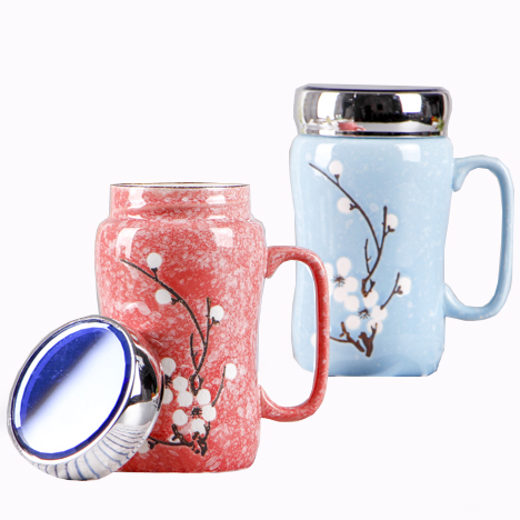 Hot-Selling New Style Mirror Face Lid Office Gift Ceramic Mug Logo Customization Modern Simple Style Colored  Cup For Drinking