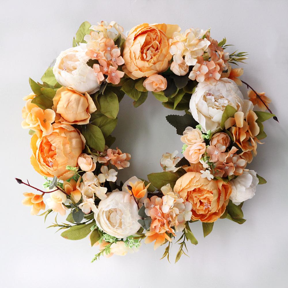 Artificial Silk Rose Peony Flower Wreath For Door Wall Garland Decoration