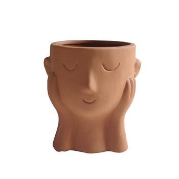 Indoor home decoration creative human face high temperature clay ceramic terracotta flower pots for succulent planters