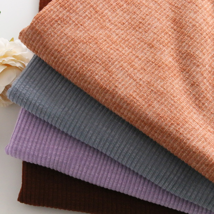 9189# 30% cotton, 63% polyester and 7% spandex 2*2 coarse knit rib fabric for short sleeves and pajamas