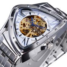 Мужские автоматические часы с треугольным скелетом DUNCOUGAR, водонепроницаемые механические часы из нержавеющей стали черного и серебристого...(Китай)