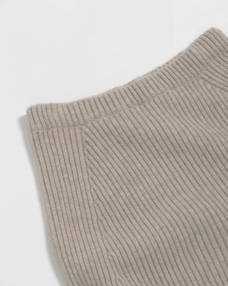 Tong Sheng Womens 100% Pure Cashmere Lounge Set Half Collar Wide Leg Knit Wool Cashmere Sweater 2/Two PiecePants Set