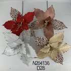 Decoration Christmas Glitter New Pick Spray For Festive Decoration Artificial Christmas Flower Pick Gauze Glitter Poinsettia