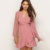 Women's Wrap Autumn Long Sleeve Dress Irregular Polka Dot V Neck Dress