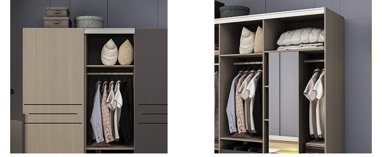Minimalist storage sliding cloth wardrobes bedroom modern furniture with mirror