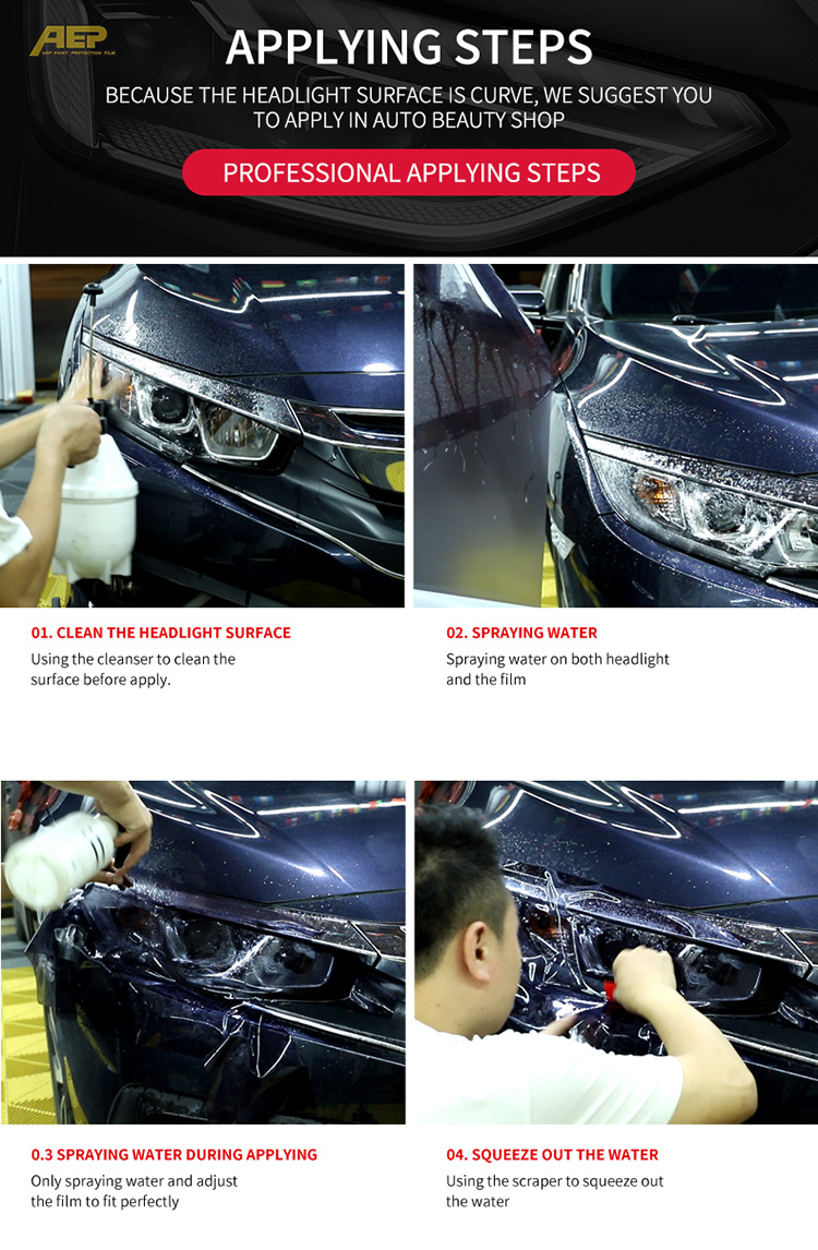 AEP TPH decoration & protection headlight film multiple colours available vinyl wrapping for car head lamp