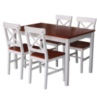 Hot Sale Modern Dining Room Sets Melamine Coated Pine Wood Small Dinning Table Set With 4 Crossback Chairs