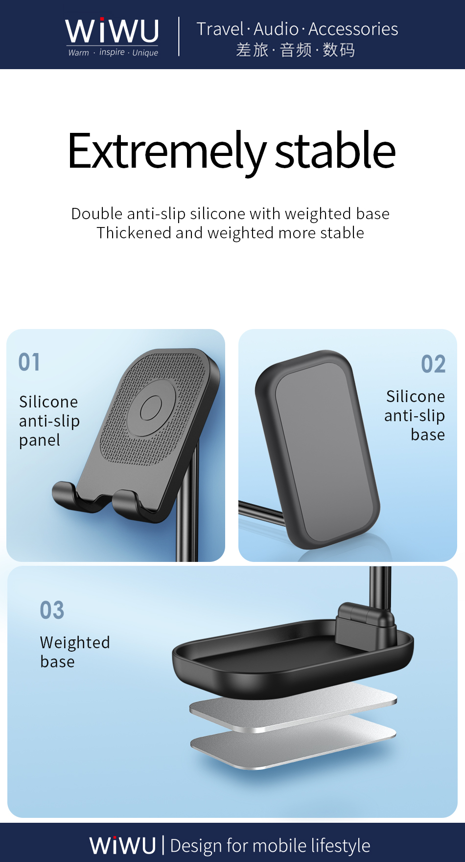 WiWU ZM100 Black ABS Aluminum alloy Adjustable Desktop Holder Stand Fo