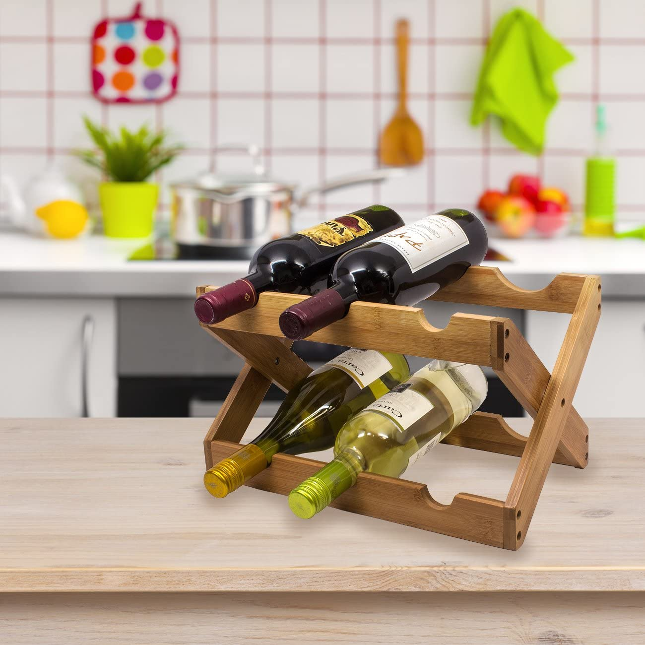 Wine stand Bamboo Foldable Countertop Wine Rack 6-Bottles (Bamboo)