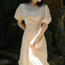 Длинное платье для Homecoming, элегантные праздничные платья в стиле ретро с квадратным вырезом и короткими рукавами-пузырьками и поясом, 2020(Китай)