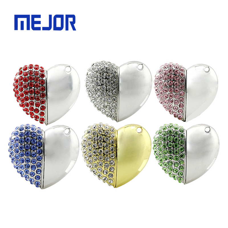 Heart Shape metal USB pendrive Jewellery Necklace Flash Disk key chain style crystal Pen drive 32GB - USBSKY | USBSKY.NET