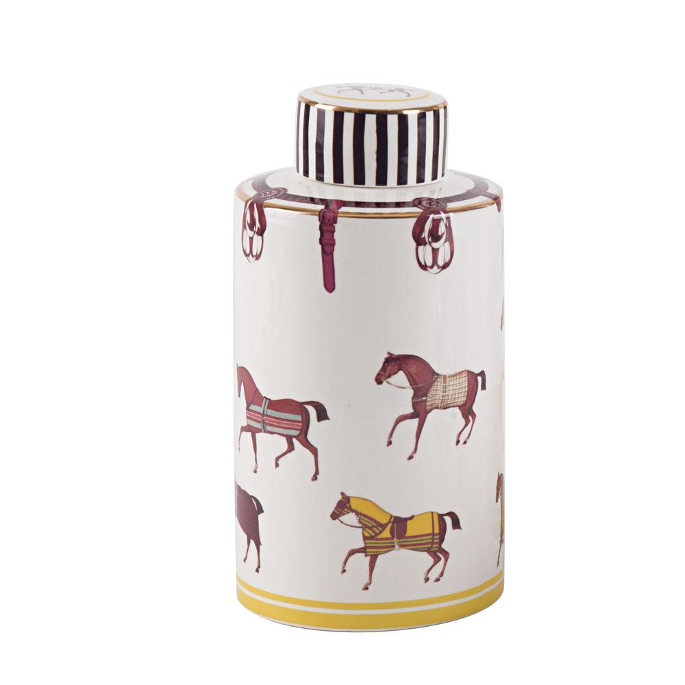 China Classic White Colorful Horse Lid Ceramic Jar Porcelain Vase For Home Decor