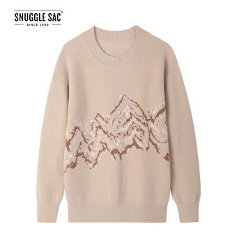 Snuggle Sac Air Feel Round Neck Ladies Fancy Sweater Long Sleeve Ladies Knit Pullover for Winter