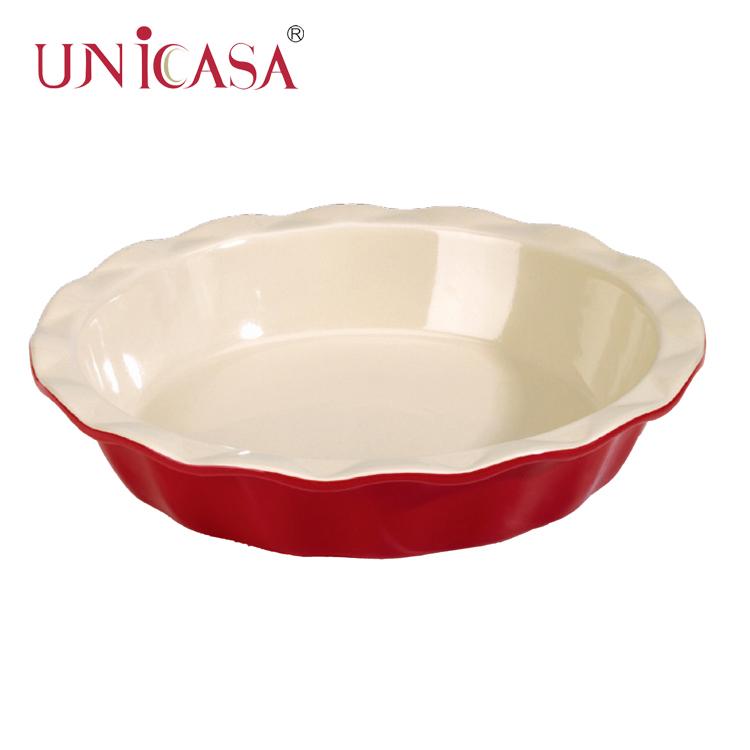 8pcs red stoneware rectangle bakeware set baking tray custom round large ceramic casserole dish with lid