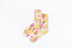 Factory direct sale fashion smiley face pattern soft color tie-dye girls stockings