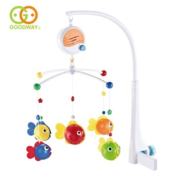 portable musical bed hanger bell toy plastic baby mobiles for crib