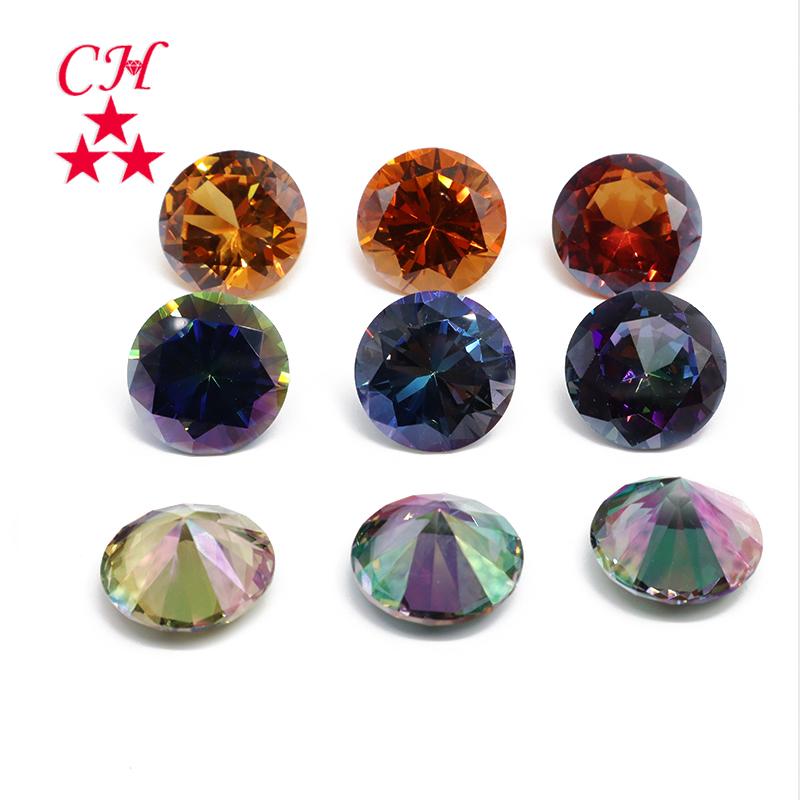 Wholesale Synthetic Gemstone Round Cut Cubic Zirconia Tanzanite CZ Stone In Stock