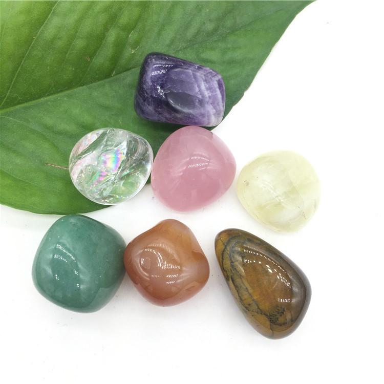 Wholesale natural yoga seven chakra crystal raw stone gift set