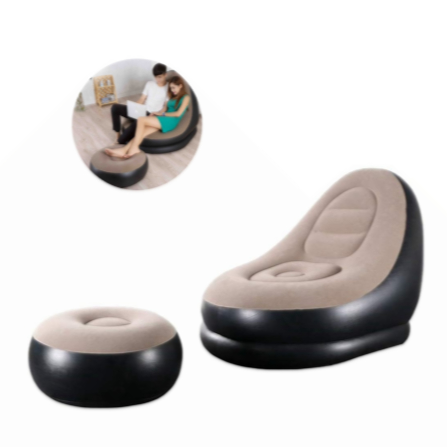 Foldable Lazy Deck Chair Inflatable Lounger Air Sofa for Indoor Living Room Bedroom, Outdoor Travel Camping Picnic