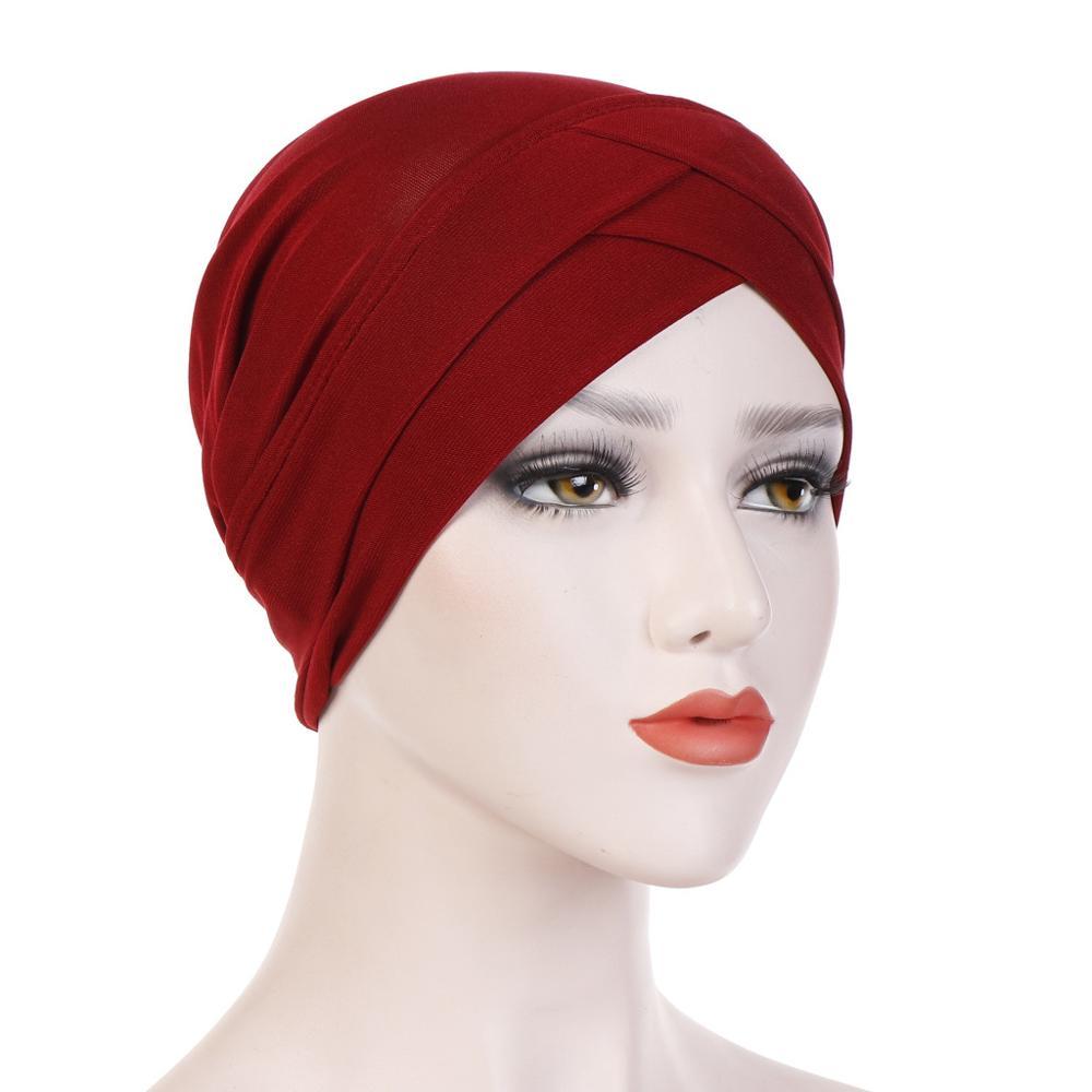 2019 Women Muslim Hijab Scarf Inner Caps Ladies Islamic Cross Headband Turban Headwrap Hairband Women Muslim Hijab Headscarf
