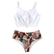 Сексуальный бикини 2020, Женский бандо с бантиком, укороченный топ, купальник для женщин, бразильский принт, купальник, пуш-ап, пляжный Biquni, куп...(Китай)