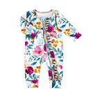 Yiwu Factory baby floral romper long sleeve baby girl romper with ruffle Zipper newborn clothes baby romper winter