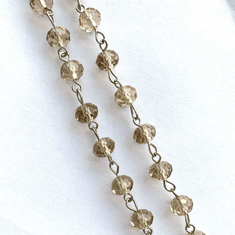 9.8 Foot per Roll 8x6mm Green Crystal Rondelle Rosary Chain in Gold Wire